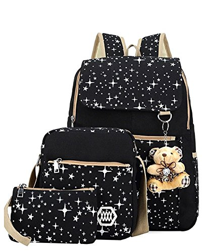 YiLianDa Tela Zaino Casual Scuola Zaini Donna Ragazza Canvas Backpack Zainetto 3 in 1 Nero
