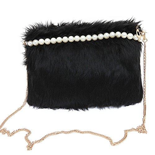 Longra Borsa a tracolla della borsa di modo delle donne perla peluche (Nero)