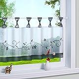 1er Pack Stickblume Schlaufen Scheibengardine kleine Kaffee Vorhang Terri Garn Raffrollo, HxB 45x90cm, Grau