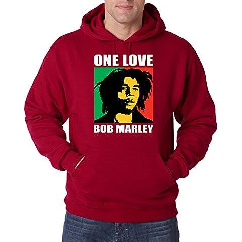 TRVPPY Uomo Maglione Felpa con Cappuccio Hoodie Sweater Modello Bob Marley One Love, diversi colori e taglia