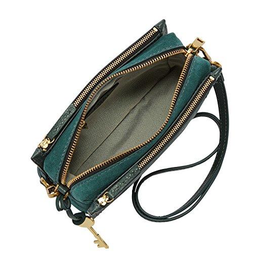 Fossil Damen Tasche Campbell-Crossbody Umhängetasche, 6.1x15.2x19.7 cm Grün (Alpine Green)