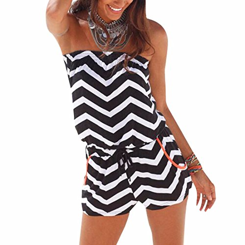 Zig-Zag Shape Striped Off Shoulder Beach Loose Shorts Jumpsuit One-Piece Rompers