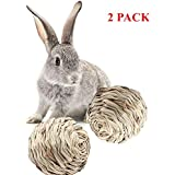 2 Pack Woven Grass Ball With Bell Pet Chew Play Toys For Rabbits, Guinea Pigs, Chinchillas, Hamsters, Ferrets And Small Animals