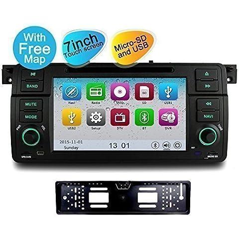 YINUO 7 Pulgadas 1 Din In Dash Pantalla Táctil Reproductor De DVD Navegación GPS De Coche Para BMW Serie 3 E46 Y M3 1998-2006 E46 3ER 318 320 325 Incluida Cámara De