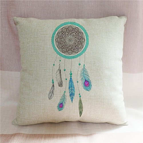 Aqua morado de plumas Atrapasueños funda de almohada decoración fundas de almohada Accent lino cojín casos