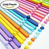 2340Feuilles Origami étoiles papier double face de 25Couleurs Décoration Bandes de papier...
