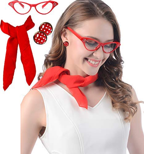 (Red Cat Eye Glasses Red 50s Chiffon Scarf  mit Polka Dot Earrings for Women 50s Costume Accessories Set)