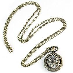 Retro Vintage Bronze Butterfly Flower Hollow Quartz Pocket Watch Chain Necklace