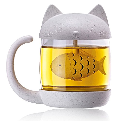 KIDAC Mug à Thé Tasse a Thé Tasse en Verre à Thé avec Joli Couvercle de Chat et Passoire à Poisson
