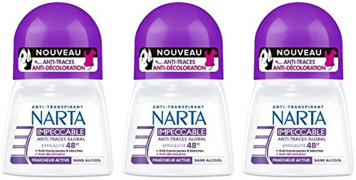 Narta - Déodorant Femme Bille Anti-Transpirant Impeccable Efficacité 48h - 50 ml - Lot de 2