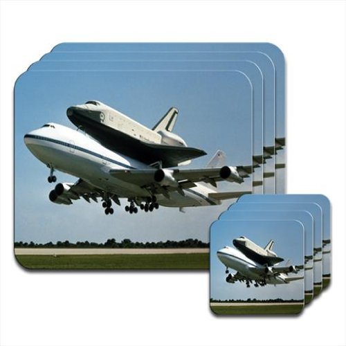 nasa-space-shuttle-being-taken-on-final-voyage-set-of-4-placemat-coasters