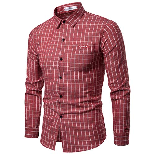 MAWOLY Plaid Print Volltonfarbe Langarm Stehkragen Button Slim Stretch Classic Golf Hemden Herren GeschäFt Freizeit Bequem Leichtgewicht Atmungsaktiv Shirts Formelle Arbeitsgruppe Tops T-Shirts -