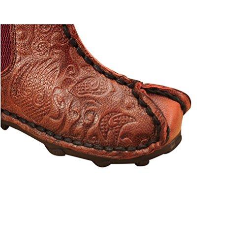 QPYC Scarpe da donna del primo strato di stivali singoli di cuoio Stivali bassi super soft morbidi del cuoio genuino Stivali femminili wine red