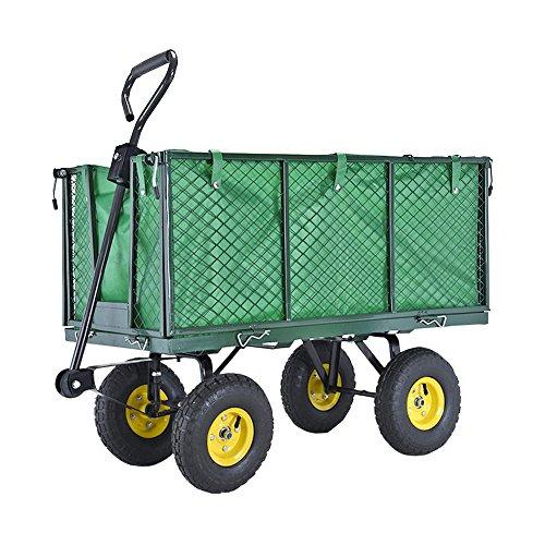 Anaelle Pandamoto Chariot de Transport Charrette à Bras sur Maison, Jardin, Entrepôt et Ferme etc, Taille: 97*51*72.5cm, Poids: 19kg, Vert et noir