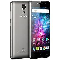 M-NET Power 1 Profesional Smartphone , 2g\3g Teléfonos Móviles Libres Baratos con 5050mAh, OTG, Android 7.0 , Dual SIM , 5.0 Pulgadas IPS Pantalla, MTK6580 Quad Core, 8GB ROM+1GB RAM, Cámara de 5MP Dual Pixel ,Smartphones Para Bluetooth, GPS, WIFI - Gris