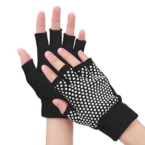 Tihebeyan Halbe Finger Yoga Handschuhe für Fitnessstudio Fitness Workout Laufübungen Trainingshandschuhe Voller Handflächenschutz & Extra Griff für Männer Frauen(Schwarz)