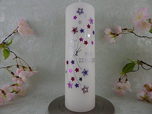 Taufkerze Sterne lila modern Kerze zur Taufe ohne Kreuz Junge Mädchen 250/70 mm mit Name und Datum - 2