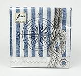 Maritime Servietten Windrose Kompass Anker Tau maritim Tischdeko Dekoration Serviette