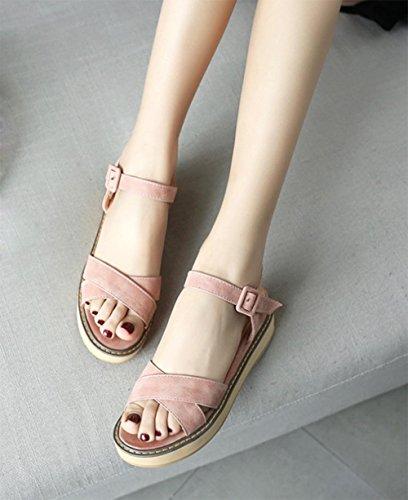 Xiaji croûte épaisse chanson gâteau chaussures plates confortables femmes de grande taille sandales Rome Pink
