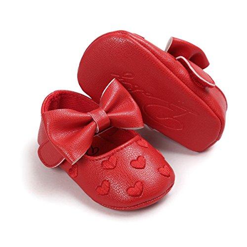 Itaar Baby Mädchen Schuhe Süß mit schönem Bogen PU-Leder Mokassins gestickte Herz und weicher rutschfester Sohle für Babys 0-18 Monate Rot