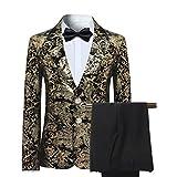 Sliktaa Anzüge für Jungen, für Hochzeiten, Abschlussball, Dinner, Schlankes Fit, Kreuzfahrten, Party, 3-15 Jahre, 2-teiliges Set Gr. 100 cm (4-5 Jahre), Gold