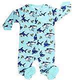 Elowel Baby Jungen Hai Strampler Pyjama Schlafanzug Fleece Flauschig 110/5 Jahre
