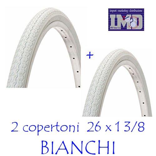 2 COPERTONI DA BICICLETTA 26 x1 3/8 COLORE BIANCO VINTAGE PER BICI OLANDA 26