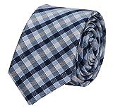 Fabio Farini karierte 6 cm Krawatte, für jeden Anlass mit Karomuster in weiß, hellblau und dunkelblau