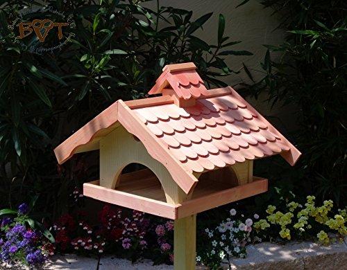 Vogelhaus,groß,mit Ständer,BEL-X-VONI5-LOTUS-LEFA-MS-rot002 Robustes, stabiles wetterfestes PREMIUM Vogelhaus mit wasserabweisender LOTUS-BESCHICHTUNG VOGELFUTTERHAUS + Nistkasten 100% KOMBI MIT NISTHILFE für Vögel KOMPLETT mit Ständer wetterfest lasiert, FUTTERHAUS für Vögel, WINTERFEST – MIT FUTTERSCHACHT Futtervorrat, Vogelfutter-Station Farbe Rot lachsrot behandelt , weinrot hellrot knallrot, MIT TIEFEM WETTERSCHUTZ-DACH für trockenes Futter, Schreinerarbeit aus Vollholz - 2