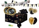 Kit n 46 Addobbi Festa VIP Party Coordinato Compleanno Gold Black Nero