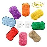 AUERVO Lot de 5 éponges à récurer Double Action en Microfibre antibactériennes et résistantes pour Nettoyer la Vaisselle avec 2 Crochets adhésifs
