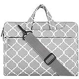 MOSISO Laptoptasche Kompatibel mit 13-13,3 Zoll MacBook Pro, MacBook Air, Notebook Computer Canvas Geometrisch Muster Aktentasche Sleeve Hülle mit Griff und Schulterriemen, Grau Quatrefoil