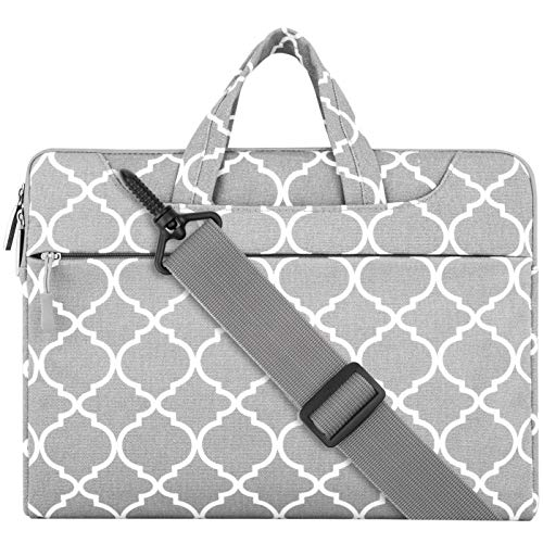 MOSISO Notebooktasche Kompatibel 13-13,3 Zoll MacBook Pro, MacBook Air, Notebook Computer Canvas Geometrisch Muster Laptoptasche Sleeve Hülle mit Griff und Schulterriemen, Grau Quatrefoil