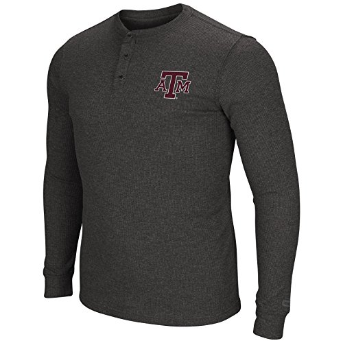 Colosseum Herren NCAA Long Sleeve Blended Thermal 3 Button Waffle Henley Shirt-Heathered, Herren, Texas A&M Aggies-Heathered Black, X-Large -