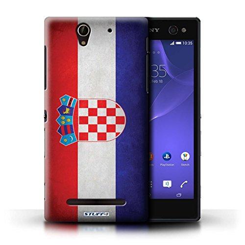 Coque en plastique pour Sony Xperia C3 Collection Drapeau - Chili/Chiliean Croatie