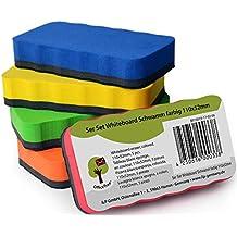 Set de 5 esponjas para pizarra blanca OfficeTree ® – 5 colores – magnéticas – limpias, secas y eficaces – elimina restos de escrituras y dibujos en pizarra blanca, papelógrafo, pizarra magnética