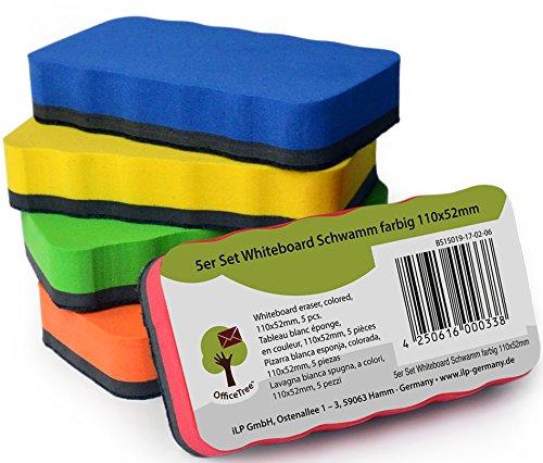 Set de 5 esponjas para pizarra blanca OfficeTree  – 5 colores – magnéticas – limpias, secas y eficaces – elimina restos de escrituras y dibujos en pizarra blanca, papelógrafo, pizarra magnética