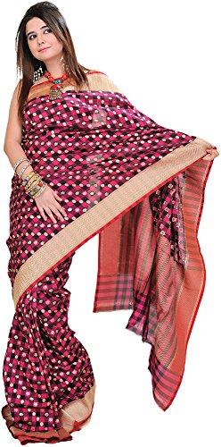 Exotic India Beetroot-Pink Banarasi Saree with Hand-Woven Lotus and Golde - Pink