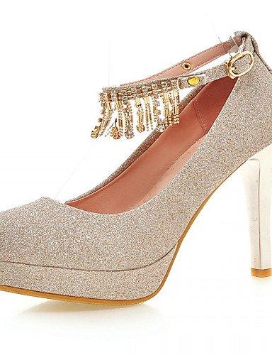 WSS 2016 Chaussures Femme-Bureau & Travail / Habillé / Décontracté-Bleu / Violet / Argent / Or-Talon Aiguille-Talons-Talons-Similicuir silver-us4-4.5 / eu34 / uk2-2.5 / cn33