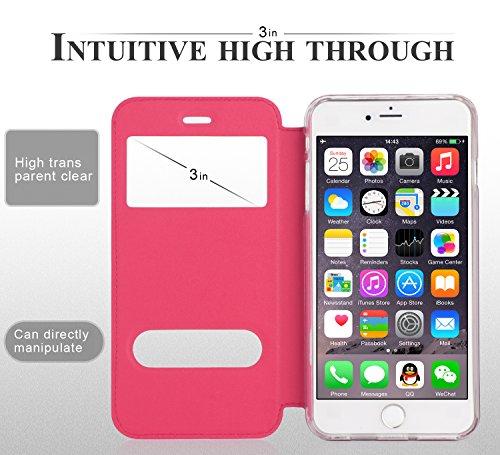 Coque iPhone 6S Plus, Coque iPhone 6 Plus, Fyy® Housse Magnetique Smart View avec Fenêtre d'Ouverture pour Apple iPhone 6S Plus/6 Plus (5.5 pouces) Or A-Rose Foncé
