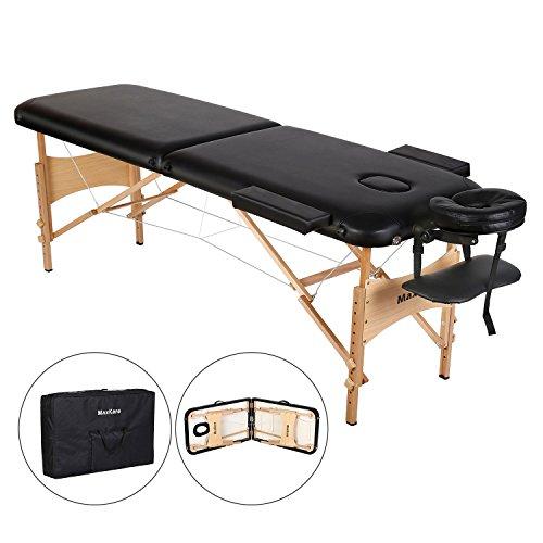 Lettino da massaggio Deluxe a 2 Sezioni, Tavolo da Massaggio Portatile e Leggero con Gambe in Legno per Massaggi Thai, Spa, Tatuaggi, Massaggio di Guarigione Svedese di MaxKare (2 Sezioni)