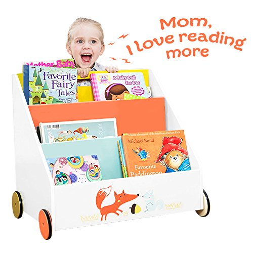 Labebe Kinder Bücherregal, Holz Standregal with Räder, Orange Kiefer 2-in-1 Bücherregal Für Kinder 1-5 Jahre Alt, Regal Bücher kinder/Klein Bücher Regal/Klein Standregal/Holz Bücherregal 4 Regal Bücherregal Mdf