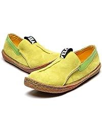 Mujer Mocasines de Cuero, Gacosy Moda Loafers Casual Zapatos de conducción Zapatillas Slip On Comfort