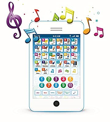 Boxiki Learning Pad Fun Phone with 6 Toddler Learning Games Kids. Touch and Learn Interactive Tablet for Learning Numbers, ABC and Spelling. Educational Toy for Children