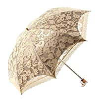 Honeystore Lace Travel Parasol Twice Folding Anti-uv Sunshade Windproof Umbrella