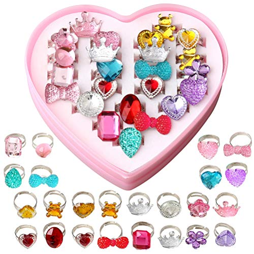 pengxiaomei 24 Stück kleine Mädchen Prinzessin Schmuck Ringe, Kleid Up Ringe Mädchen Prinzessin Play Schmuck Spielzeug Verstellbare Ringe Kristall mit Herzform Rosa Box (Kleine Schmuck-box Mädchen)