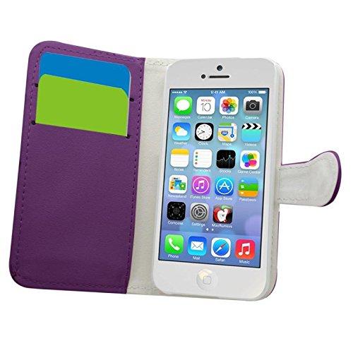 Samrick Etui avec Carte de Crédit/D'affaires Carte Titulaire pour Apple iPhone 5C Rouge violet