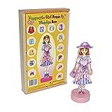 """Small Foot by Legler Magnetspiel Anziehpuppe """"Ramona """" aus Holz, mit magnetischen Kleidern und einem Aufstell-Modell, sekundenschnell neue Looks gestalten, in einer Holzbox für den Transport geeignet"""
