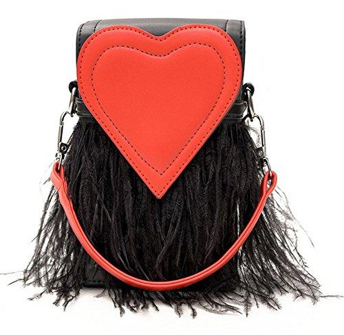 Rrock Frauen Handtasche Schultertasche Messenger Bag Quaste Tasche Mode Einfache Persönlichkeit Handytasche,Black