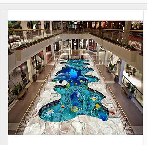Selbstklebende Pvc-Tapete Die amerikanische Marinewelt-tropische Fisch-Gruppe 3D Bodenfliese, die modernen Aufkleber 3D Boden 180X420Cm malt - Malt Crystal